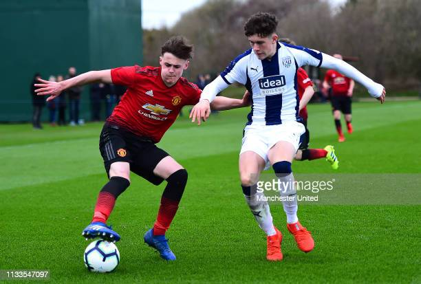 Mark Helm of Manchester United U18s in action during the U18 Premier League match between Manchester United U18s and West Bromwich Albion U18s at Aon...