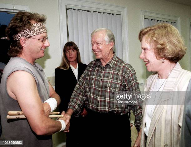 Mark Herndon of Country Group Alabama Former President Jimmy Carter and Former First Lady Rosalynn Carter backstage Circa 1984 in Atlanta Georgia