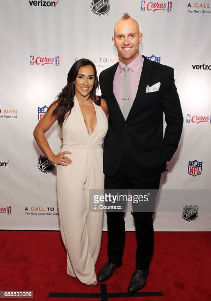 Mark Herzlich and Danielle Conti pose for a photo at A Call To Men's 15th Anniversary Gala And Awards Dinner at The Lighthouse at Chelsea Piers on...