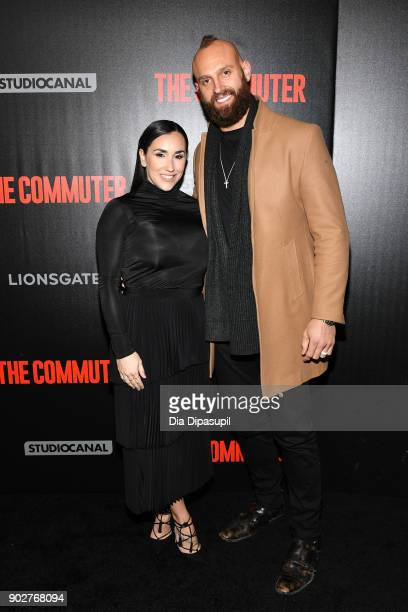 Mark Herzlich and wife Danielle Conti attend 'The Commuter' New York premiere at AMC Loews Lincoln Square on January 8 2018 in New York City