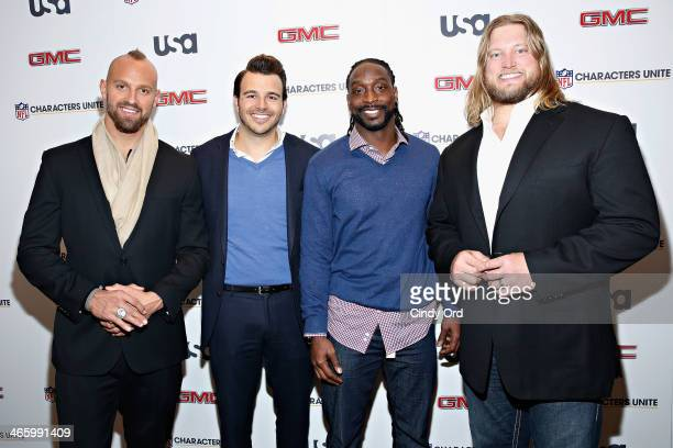 Mark Herzlich Charlie Ebersol Charles Tillman and Nick Mangold attend the 3rd Annual NFL Characters Unite at Sports Illustrated on January 30 2014 in...