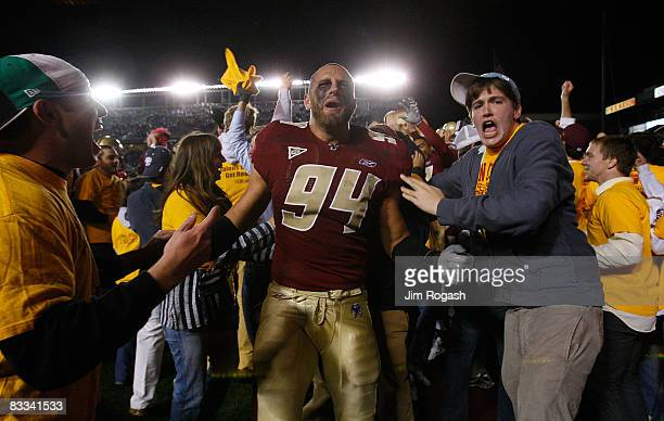 Mark Herzlich of the Boston College Eagles celebrates after defeating the Virginia Tech Hokies 2823 on October 18 2008 at Alumni Stadium in Chestnut...