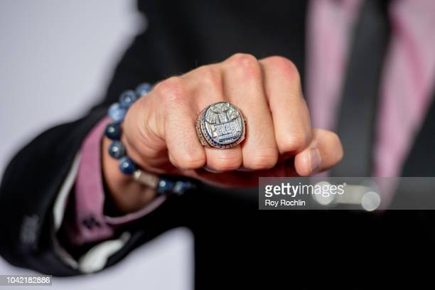 Mark Herzlich's 2011 Super Bowl XLV NY Giants ring during the 2018 Samsung Charity Gala at The Manhattan Center on September 27 2018 in New York City