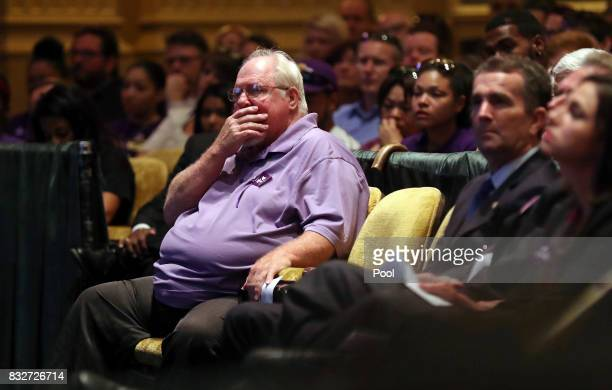 Mark Heyer the father of Heather Heyer gets emotional during a memorial service for his daughter at the Paramount Theater on August 16 2017 in...