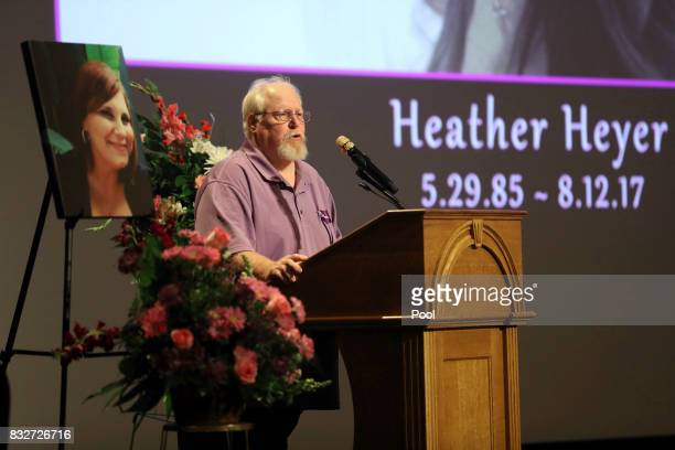 Mark Heyer the father of Heather Heyer speaks during a memorial service for his daughter at the Paramount Theater on August 16 2017 in...