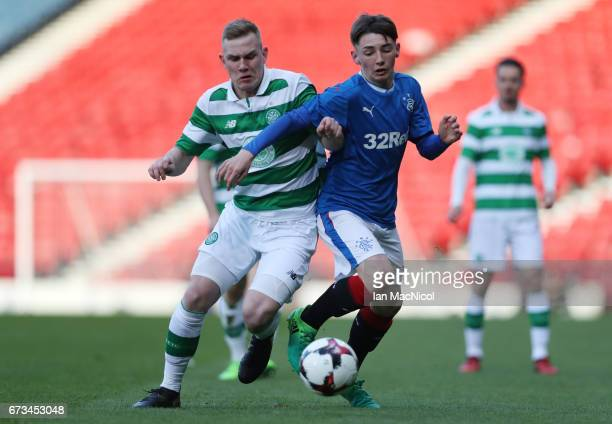 Mark Hill of Celtic vies with Billy Gilmour of Rangers during The Scottish FA Youth Cup Final between Celtic and Rangers at Hampden Park on April 26...