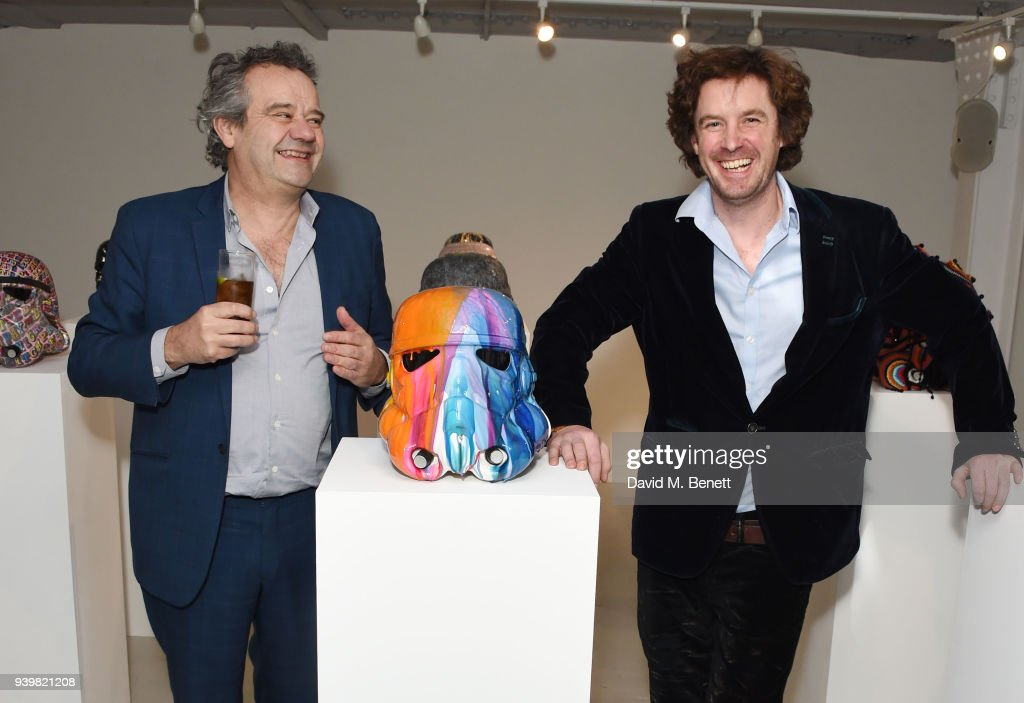 Mark Hix and Ben Moore attend a private view of Art Wars East at Hix Art on March 29, 2018 in London, England.