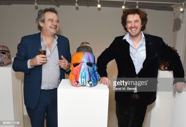 Mark Hix and Ben Moore attend a private view of Art Wars East at Hix Art on March 29 2018 in London England