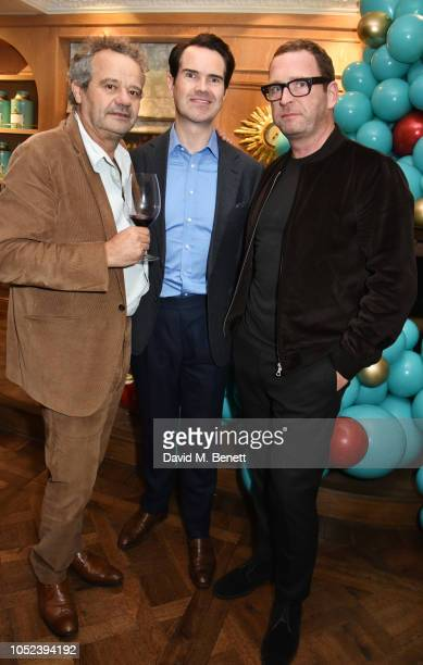 Mark Hix Jimmy Carr and Mark Wogan attend the launch of the Fortnum Mason Christmas Other Winter Feasts cookbook by Tom Parker Bowles at Fortnum...