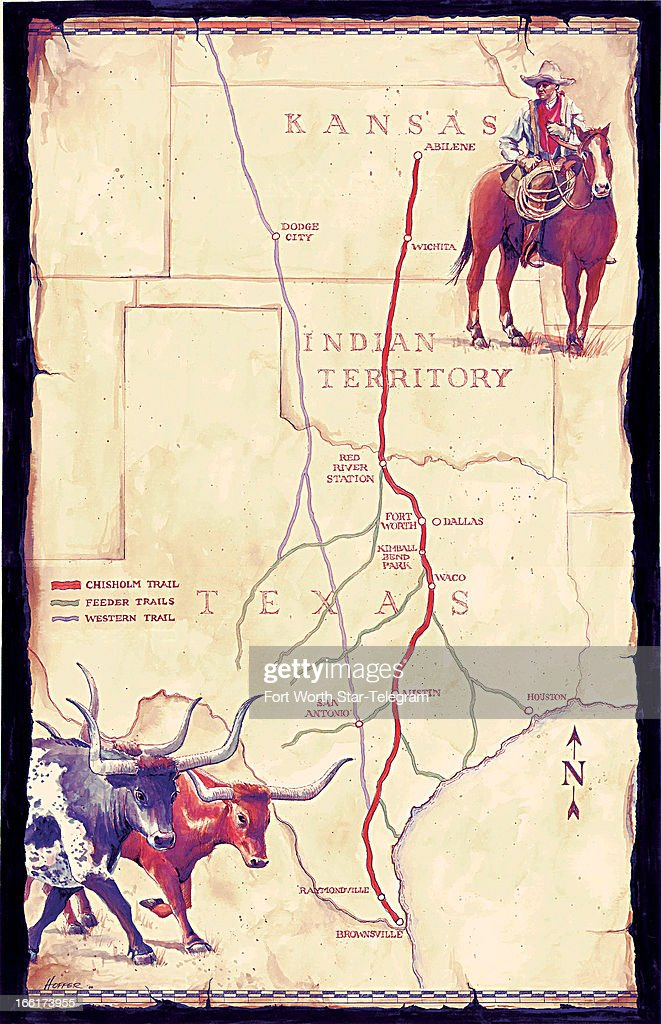 ILLUSTRATION Chisholm Trail Pictures Getty Images - Chisholm trail map