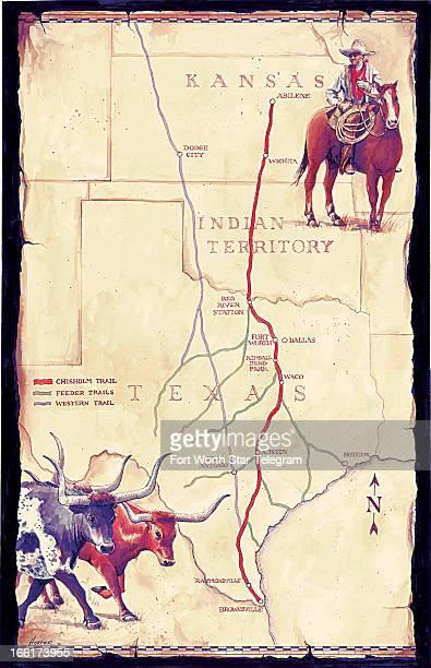 Mark Hoffer illustration oldstyle map of the Chisholm Trail