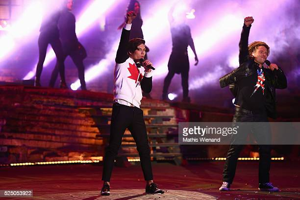 Mark Hoffmann and Thomas Katrozan perform during the third event show of the tv competition 'Deutschland sucht den Superstar' at Landschaftspark...
