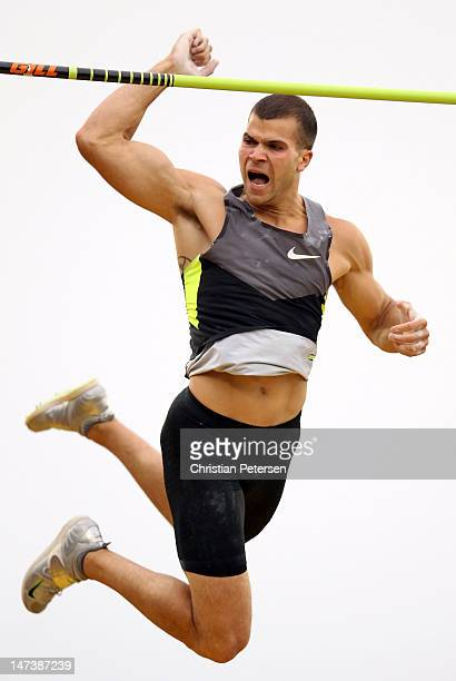 Mark Hollis celebrates as he competes in the Men's Pole Vault Final on day seven of the US Olympic Track Field Team Trials at the Hayward Field on...