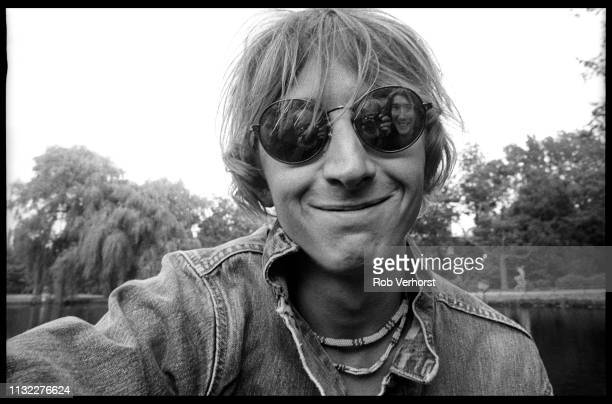 Mark Hollis of Talk Talk portrait in Vondelpark Amsterdam Netherlands 30th August 1984 Band members Paul Webb and Lee Harris as well as photographer...