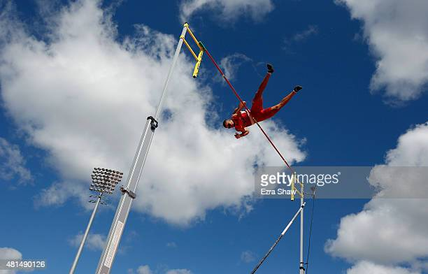 Mark Hollis of the United States competes in the men's pole vault during Day 11 of the Toronto 2015 Pan Am Games on July 21 2015 in Toronto Canada