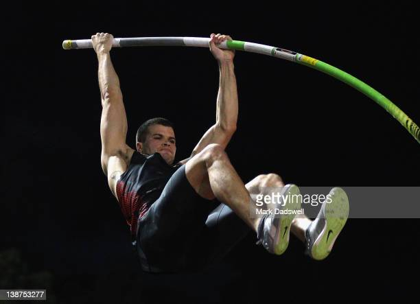 Mark Hollis of the USA competes in the Mens Pole Vault Open during the Perth Track Classic at WA Athletics Stadium on February 11 2012 in Perth...
