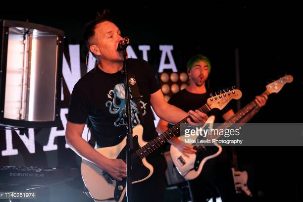 Mark Hoppus and Alex Gaskarth of Simple Creatures perform on stage at Hangar on April 03, 2019 in London, England.