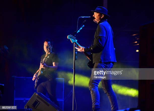 Mark Hoppus and Matt Skiba of blink182 perform on Ambassador Stage during day 1 of the 2017 Life Is Beautiful Festival on September 22 2017 in Las...