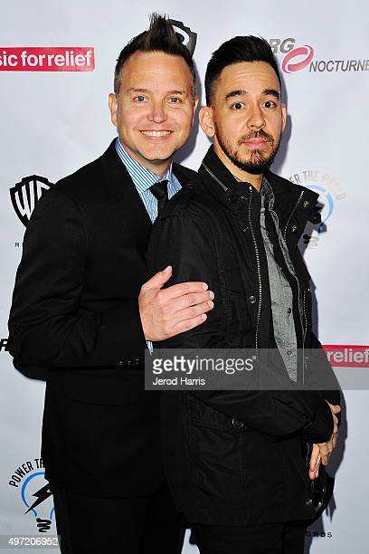 Mark Hoppus and Mike Shinoda arrive at Music for Relief presents Relief Live at LA River Studios on November 14 2015 in Los Angeles California