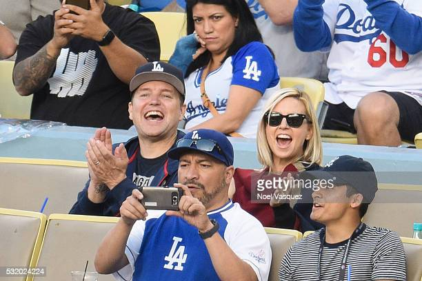 Mark Hoppus and Skye Everly attend a baseball game between the Los Angeles Angels of Anaheim and the Los Angeles Dodgers at Dodger Stadium on May 17...