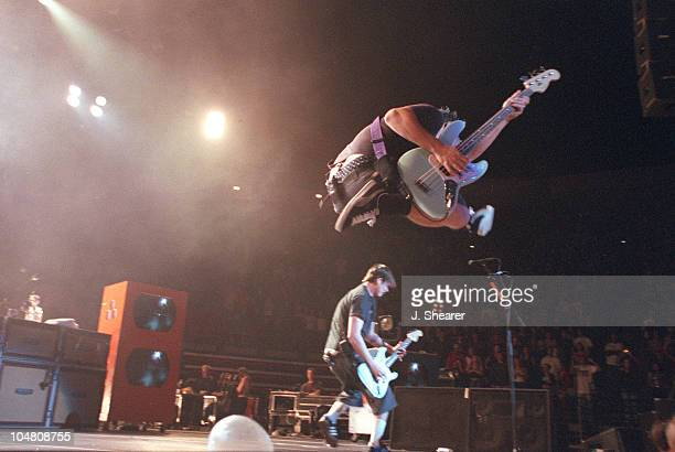 Mark Hoppus and Tom DeLonge of Blink 182 during Blink182 New Years Eve Concert at Cox Arena in San Diego California United States