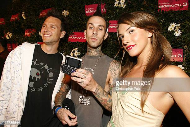 Mark Hoppus and Travis Barker of Blink 182 during TMobile Sidekick 3 Launch Red Carpet at 6215 Sunset Blvd in Los Angeles California United States