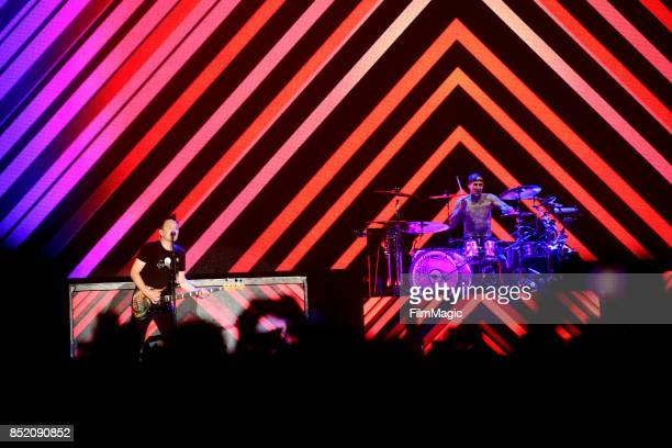 Mark Hoppus and Travis Barker of blink182 perform on Ambassador Stage during day 1 of the 2017 Life Is Beautiful Festival on September 22 2017 in Las...