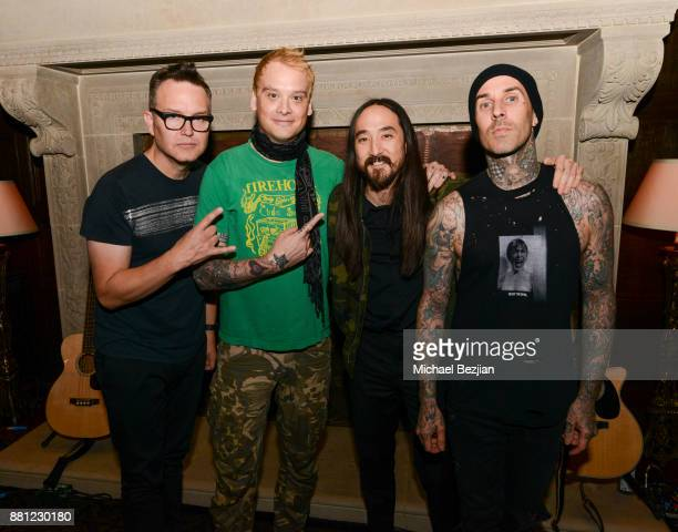 Mark Hoppus Matt Skiba Steve Aoki and Travis Barker attend The Aoki Foundation Annual Fundraiser Steve Aoki Birthday Celebration with Blink 182 T...