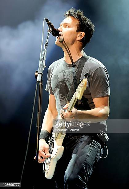 Mark Hoppus of Blink 182 performs headlining on day two of the Leeds Festival at Branham Park on August 28 2010 in Leeds England