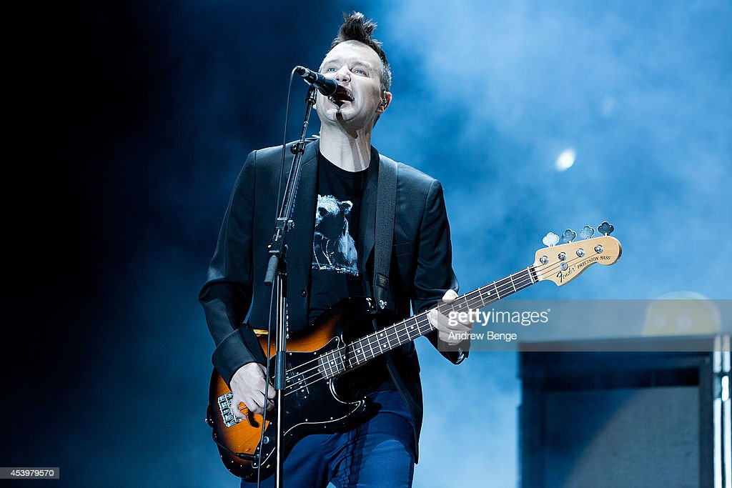 Mark Hoppus of Blink 182 performs on stage at Leeds Festival at Bramham Park on August 22, 2014 in Leeds, United Kingdom.