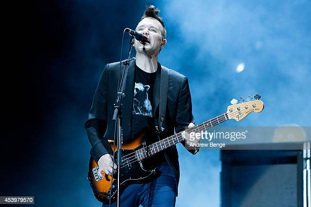 Mark Hoppus of Blink 182 performs on stage at Leeds Festival at Bramham Park on August 22 2014 in Leeds United Kingdom