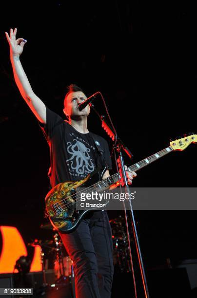 Mark Hoppus of Blink 182 performs on stage at the O2 Arena on July 19 2017 in London England