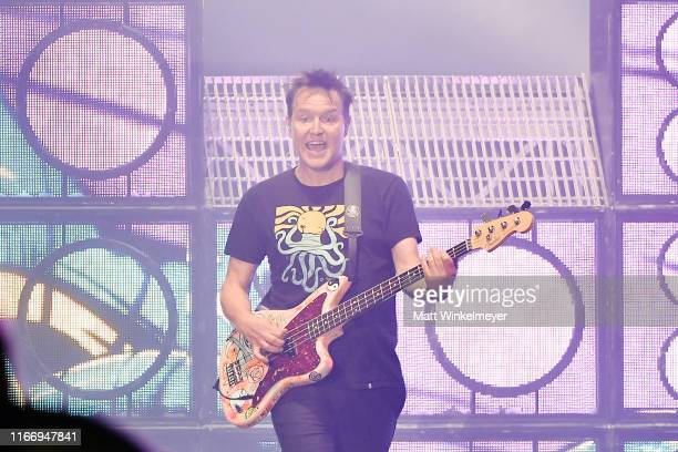 Mark Hoppus of Blink-182 perform at The Forum on August 08, 2019 in Inglewood, California.