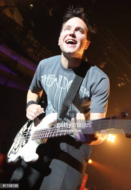 Mark Hoppus of Blink-182 performs at T-Mobile Sidekick Presents the 2009 Blink-182 Tour at the Hollywood Palladium on October 10, 2009 in Hollywood,...