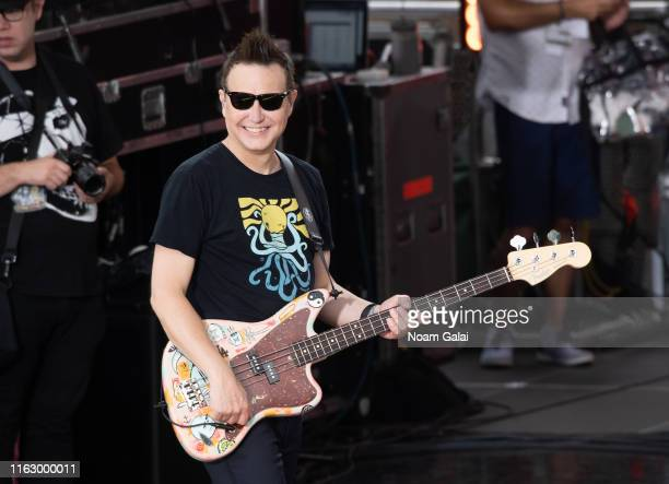 """Mark Hoppus of Blink-182 performs on ABC's """"Good Morning America"""" at Rumsey Playfield, Central Park on July 19, 2019 in New York City."""