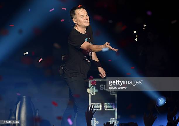 Mark Hoppus of the band Blink-182 performs onstage at 106.7 KROQ Almost Acoustic Christmas 2016 - Night 1 at The Forum on December 10, 2016 in...