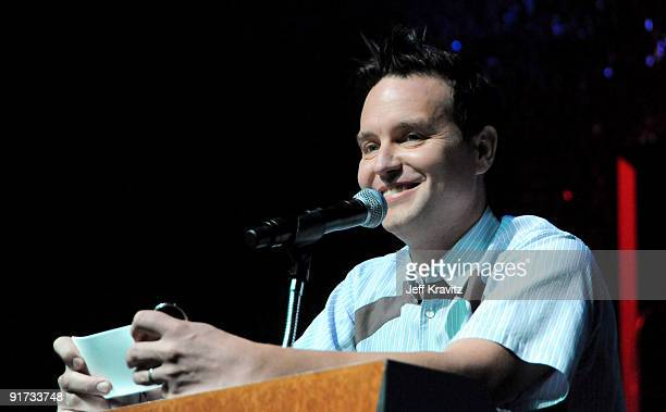 Mark Hoppus speaks during The Surfrider Foundation's 25th Anniversary Gala at the California Science Center's Wallis Annenberg Building on October 9,...