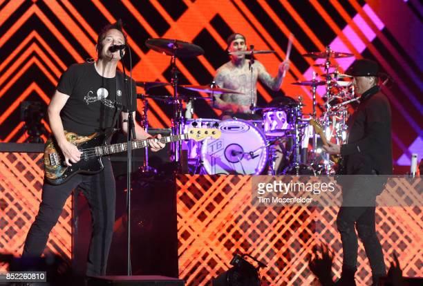Mark Hoppus Travis Barker and Matt Skiba of Blink 182 perform during the 2017 Life is Beautiful Festival on September 22 2017 in Las Vegas Nevada
