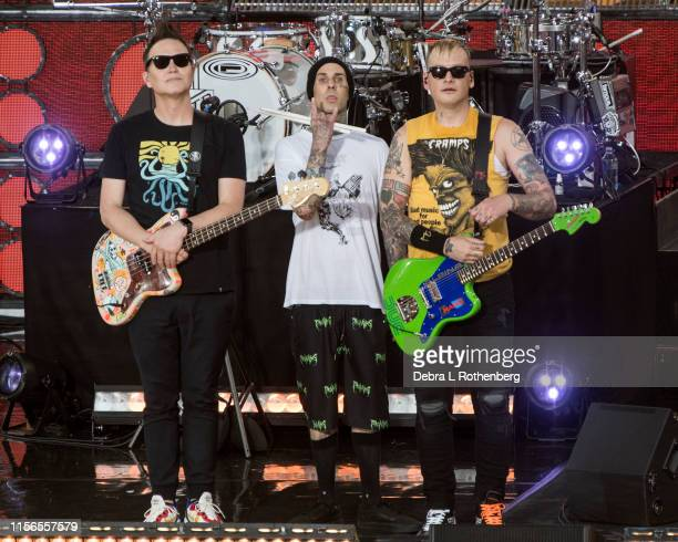 Mark Hoppus Travis Barker and Matt Skiba of Blink 182 perform on ABC'c Good Morning America at Rumsey Playfield Central Park on July 19 2019 in New...