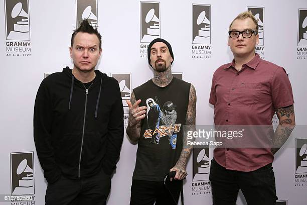 Mark Hoppus Travis Barker and Matt Skiba of Blink182 attend A Conversation With Blink182 at The GRAMMY Museum on October 4 2016 in Los Angeles...