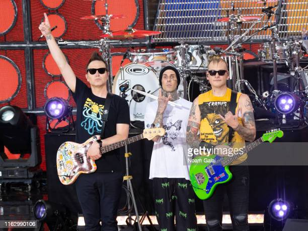 Mark Hoppus Travis Barker and Matt Skiba of Blink182 attend ABC's Good Morning America at Rumsey Playfield Central Park on July 19 2019 in New York...