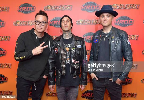 Mark Hoppus Travis Barker and Matt Skiba of blink182 attend KROQ Weenie Roast 2018 at StubHub Center on May 12 2018 in Carson California
