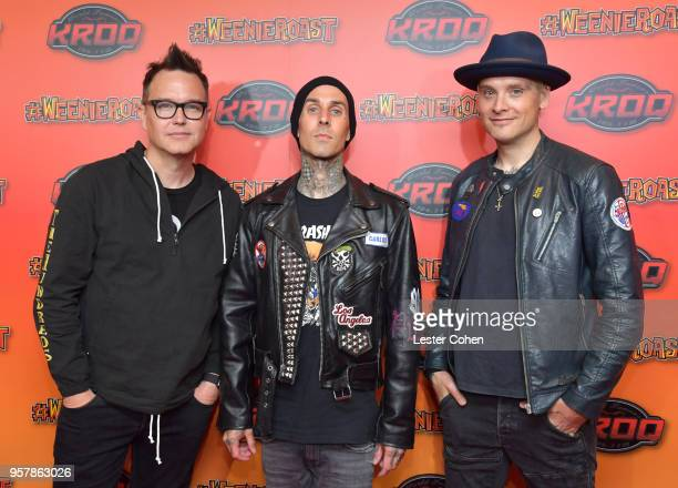 Mark Hoppus Travis Barker and Matt Skiba of blink182 attend KROQ Weenie Roast 2018 at StubHub Center on May 12 2018 in Carson California