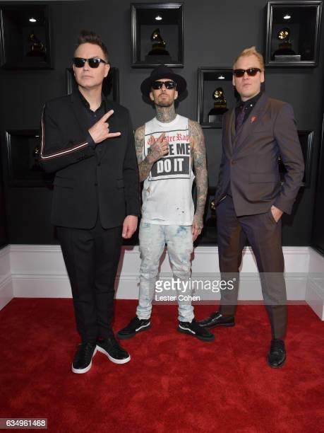 Mark Hoppus Travis Barker and Matt Skiba of Blink182 attend The 59th GRAMMY Awards at STAPLES Center on February 12 2017 in Los Angeles California