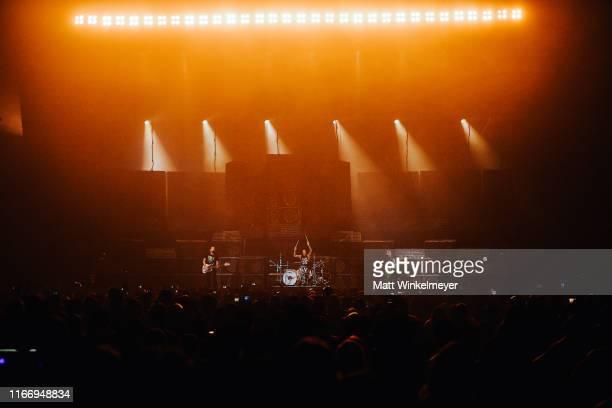 Mark Hoppus Travis Barker and Matt Skiba of Blink182 perform at The Forum on August 08 2019 in Inglewood California