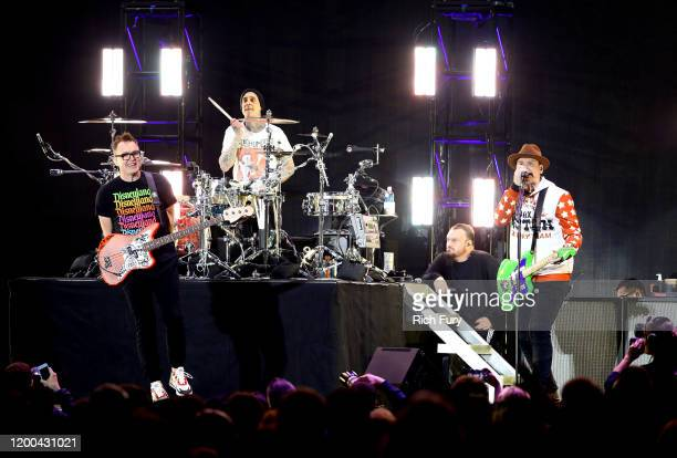 Mark Hoppus Travis Barker and Matt Skiba of Blink182 perform onstage at the 2020 iHeartRadio ALTer EGO at The Forum on January 18 2020 in Inglewood...