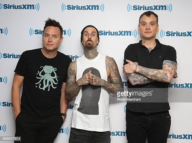 Mark Hoppus Travis Barker and Matt Skiba of Blink182 visits SiriusXM Townhall at SiriusXM Studio on June 28 2016 in New York City
