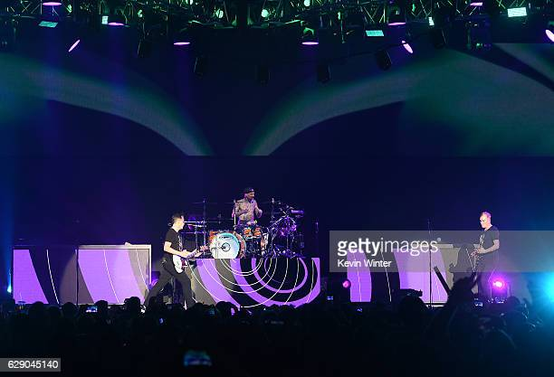 Mark Hoppus Travis Barker and Matt Skiba of the band Blink182 perform at 1067 KROQ Almost Acoustic Christmas 2016 Night 1 at The Forum on December 10...