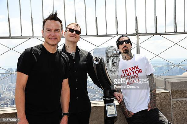 Mark Hopus Matt Skiba and Travis Barker of Blink182 visit at The Empire State Building to promote new album California on June 29 2016 in New York...