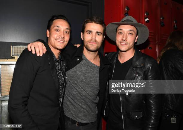 Mark Houston actor Paul Wesley and Jonnie Houston attend the grand opening celebration of On The Record Speakeasy and Club at Park MGM on January 19...